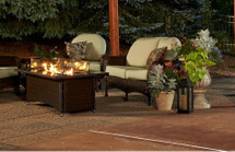 Outdoor GreatRoom Company MG-1242-BLK-K Or MG-1242-BLSM-K Montego Fire Pit Table In Black Or Balsam Wicker