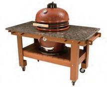 Saffire 162-SGTT23-O Golden Teak Table Cart For 23 Inch XL Saffire Series Grills Open Top To Add Granite