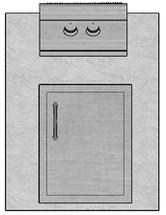 "28"" Mod Single Door & Side Burner"