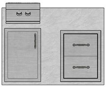 "48"" Mod Double Drawers, Single Access Door & Double Burner"