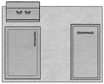 "48"" Mod Trash Drawer, Single Access Door & Double Burner"