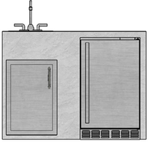 "48"" Mod Refrigerator, Single Door & Sink"