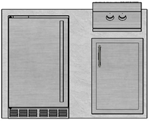 "48"" Mod Refrigerator, Single Door & Double Burner"