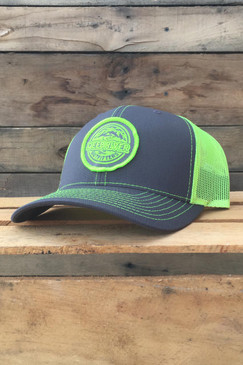 Deep River Round Patch on charcoal with neon yellow mesh Richardson Hat with cotton polyester front panels and visor, with nylon mesh back panels.