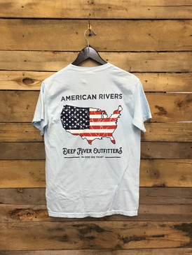 American Rivers Flag shirt printed on Chambray Comfort Colors short sleeve pocket tees.