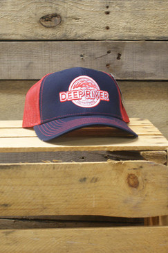 Deep River Trucker in navy with red mesh.