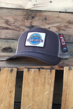 Deep River Sublimated Patch on brown with khaki mesh Richardson Hat with cotton polyester front panels and visor, with nylon mesh back panels.