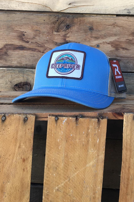Deep River Sublimated Patch on Columbia Blue with khaki mesh Richardson Hat with cotton polyester front panels and visor, with nylon mesh back panels.