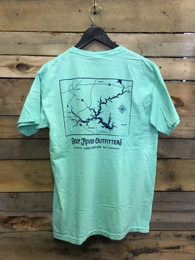 Deep River Outfitters Lake Sinclair Map Short Sleeve Tee in Comfort Colors shirts Island Reef.