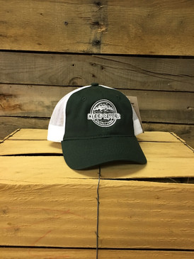Deep River Outfitters Kids Cap Logo on dark green with white mesh trucker hat is perfect for every kid.