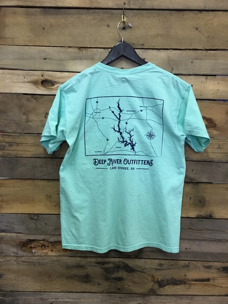Deep River Outfitters Lake Oconee Map Short Sleeve Tee in Comfort Colors shirts Island Reef.
