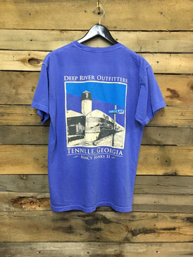 Deep River  Outfitters Tennille Depot. Featuring the Nancy Hanks II. Available in Comfort Colors Flo Blue short sleeve pocket tee.
