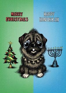 #109a-8  (Box of 8) Merry Xmas/Happy Hanukkah  (Smaller Version)