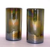 Iridesent Olive 2Pc Hurricane Candle Holder