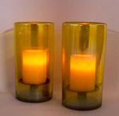 Iridesent Yellow 2Pc Hurricane Candle Holder