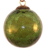 Brass Cap Green Crackle Kugel