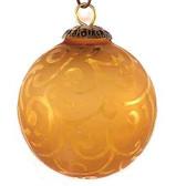 Brass Cap Light Amber Etched Kugel