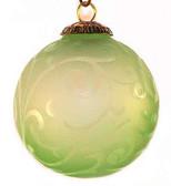 Brass Cap Light Green Etched Kugel