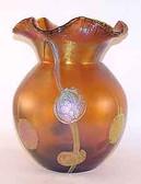 """Tiffany Style Art Glass Vase """"Poppies"""" Gold"""
