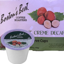 Boston's Best Coffee Roasters Hazelnut Creme DECAF Coffee Single Cup. Compatible with most or all single cup brewers including Keurig® and Keurig® 2.0