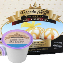 Grande Kaffe Jamaican Me Crazy Coffee Single Cup. An enticing blend of caramel and vanilla with a fun island flair. Compatible with all single serve brewers, including Keurig® and Keurig® 2.0.