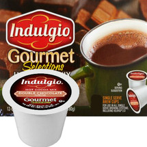 Indulgio Gourmet Selections Double Chocolate Hot Cocoa Mix Single Cup. Compatible with all single serve brewers, including Keurig® and Keurig® 2.0.