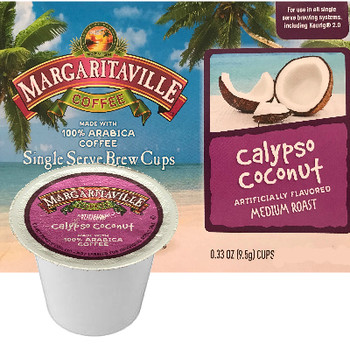 Margaritaville Coffee Calypso Coconut Coffee Single Cup. This wonderful, sweet coconut flavored coffee has hints of rich chocolate flavors. It will create a sense of paradise in your cup. Compatible with all single serve brewers, including Keurig® and Keurig® 2.0.
