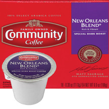 Community Coffee New Orleans Blend Coffee K-Cup® Pod. Special dark roast, rich and vibrant. Compatible with most or all single cup brewers including Keurig® and Keurig®