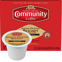 Community Coffee Sugar Dusted Beignet Coffee Single Cup. A french dough flavored coffee lightly dusted with powdered sugar for a delightful finish. Compatible with most single cup brewers including Keurig and Keurig 2.0.