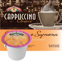 Land O Lakes Cappuccino Suprema Cappuccino Mix Single Cup. The perfect cup of cappuccino is made with nonfat milk and Colombian & Kona coffee blended to make a wonderful frothy cup. Compatible with most single cup brewers including Keurig and Keurig 2.0.