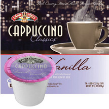 Land O Lakes French Vanilla Cappuccino Mix Single Cup. The perfect cup of cappuccino is made with nonfat milk and Colombian & Kona coffee blended to make a wonderful frothy cup. Compatible with most single cup brewers including Keurig and Keurig 2.0.