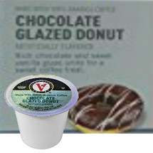 Victor Allen's Coffee Chocolate Glazed Donut Coffee Single Cup. Rich chocolate and sweet vanilla glaze unite for a sweet coffee treat. Compatible with most single cup brewers including Keurig and Keurig 2.0.
