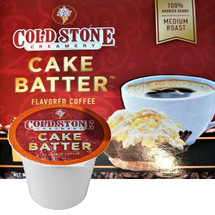 Cold Stone Creamery Cake Batter Coffee Single Cup. Cold Stone Creamery coffee combines our indulgent ice cream flavors with perfectly roasted coffee beans. Our Cake Batter coffee is a medium roast blend with a rich, smooth and sweet finish. It's like French Vanilla, only way, way better. Compatible with most single cup brewers including Keurig and Keurig 2.0.