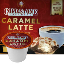 Cold Stone Creamery Caramel Latte Coffee Single Cup. Cold Stone Creamery coffee combines our indulgent ice cream flavors with perfectly roasted coffee beans. Our Caramel Latte has a rich, creamy taste of sweet caramel blended with 100% espresso beans to make a delightful cup that will wake you up and brighten any day. Compatible with most single cup brewers including Keurig and Keurig 2.0.