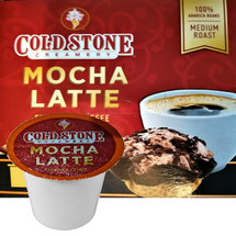 Cold Stone Creamery Mocha Latte Coffee Single Cup. Cold Stone Creamery coffee combines our indulgent ice cream flavors with perfectly roasted coffee beans. Our Mocha Latte combines our rich, full-bodied espresso with bittersweet mocha for a classic coffee drink to satisfy your sweet tooth. Compatible with most single cup brewers including Keurig and Keurig 2.0.