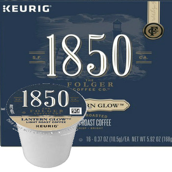 Folgers 1850 Coffee Lantern Glow Coffee K-Cup Pod. Cut through the fog with the smooth, taste of 1850™ Lantern Glow™ Light Roast Coffee.  Bright citrus undertones shine through a bold blend of 100% Arabica beans, fire-roasted and steel-cut for a timeless taste.  Its unique complexity and smooth flavor help illuminate your morning and guide you through everyday adventures. Compatible with most single cup brewers including Keurig and Keurig 2.0.