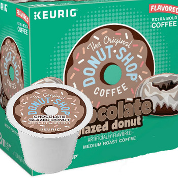 The Original Donut Shop Chocolate Glazed Donut Coffee K-Cup® Pod. Indulge your taste buds to the remarkable taste of the Donut Shop Chocolate Glazed Coffee. This delectable coffee brew boasts a fresh-baked chocolate glazed donut flavor that will energize and salsify with each savory sip. Compatible with most single cup brewers including Keurig and Keurig 2.0.