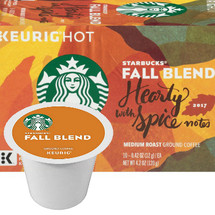 Starbucks Fall Blend Coffee K-Cup® Pod. The Fall 2018 Medium Roast Coffee from Starbucks is expertly blended to deliver a hearty and refined coffee drinking experience as the air turns cooler and the leaves change color this autumn. Compatible with most or all single cup brewers including Keurig® and Keurig® 2.0