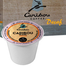 Caribou Blend Decaf Coffee K-Cup This signature blend balances a big-bodied, syrupy taste with a clean, snappy finish. All natural, no chemical decaffeination in our process.