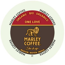 Marley One Love Coffee Single Cup. One Love, one heart, 100% Ethiopian Yirgacheffe. From the birthplace of coffee, exotic floral and berry notes tantalize your palate. Compatible with all single serve brewers, including Keurig® and Keurig® 2.0.