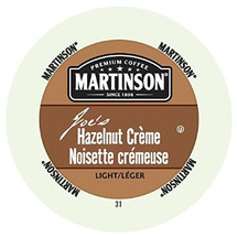 Martinson Hazelnut Creme Coffee Single Cup. Enjoy Hazelnut Crème flavored coffee with a delicious hazelnut aroma and hazelnut flavor with sweet creamy notes. Compatible with all single serve brewers, including Keurig® and Keurig® 2.0.