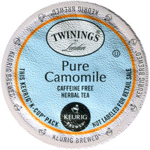 Twinings Pure Camomile Tea K-Cup® Pod. This naturally caffeine-free herbal tea is made with 100% pure golden camomile. It has a relaxing floral aroma and light flavor.