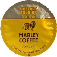 "Marley Buffalo Soldier Coffee Single Cup. Roasted sweet, this earthy blend of 100% Rainforest Alliance Certified™ beans is sultry, smoky and deliciously smooth. Its dark chocolate and berry undertones leave a deep, rich, lingering finish that will help you get through those ""fighting for survival"" days. Compatible with all single serve brewers, including Keurig® and Keurig® 2.0."