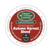 Green Mountain Autumn Harvest Blend Coffee K-Cup® Pod. When the winds pick up and the leaves start to tumble, reach for a cup of this aromatic and richly layered coffee – a hearty blend of medium and French roast beans featuring juicy red fruit notes and a dark chocolate finish. Compatible with all single serve brewers, including Keurig® and Keurig® 2.0.
