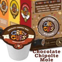 Crazy Cups Chocolate Chipotle Mole Coffee Single Cup.  Chipotle Pepper and dark chocolate. Compatible with most single cup brewers, including Keurig and Keurig 2.0.