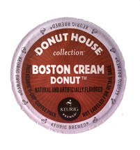 Donut House Collection Boston Cream Donut Coffee K-Cup® Pod. taste of overflowing custard and a glaze of sweet chocolate.