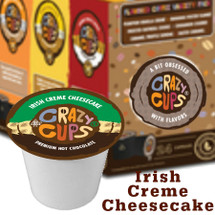 Crazy Cups Irish Creme Cheesecake Premium Hot Chocolate Single Cup. Supple Irish crème cheesecake and rich chocolate taste. It's the perfect treat for your inner leprechaun. Compatible with all single serve brewers, including Keurig® and Keurig® 2.0.
