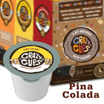 Crazy Cups Pina Colada Coffee Single Cup. Pineapple, coconut and rum (non-alchoholic) flavored. Compatible with all single cup brewers including Keurig® and Keurig® 2.0.