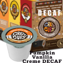 Crazy Cups Pumpkin Vanilla Creme Decaf Coffee Single Cup. Treat yourself to the flavor of Vanilla-Laced Pumpkin Pie, Topped with sweet creme. in the cup Compatible with all single cup brewers including Keurig® and Keurig® 2.0