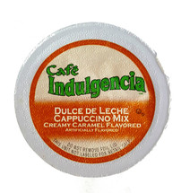 Cafe Indulgencia Dulce De Leche Cappuccino Mix Single Cup. Creamy Caramel flavored. Compatible with all single cup brewers including Keurig® and Keurig® 2.0